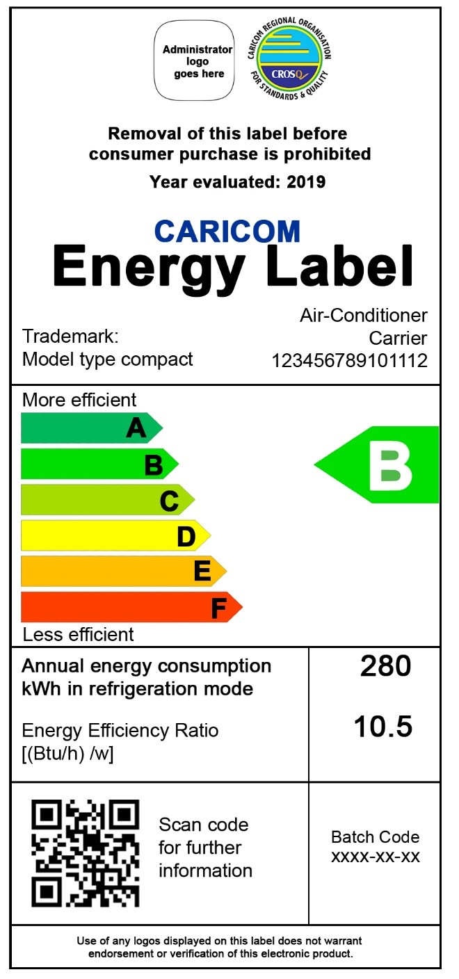 Sample of the energy efficiency label for refrigerating appliances